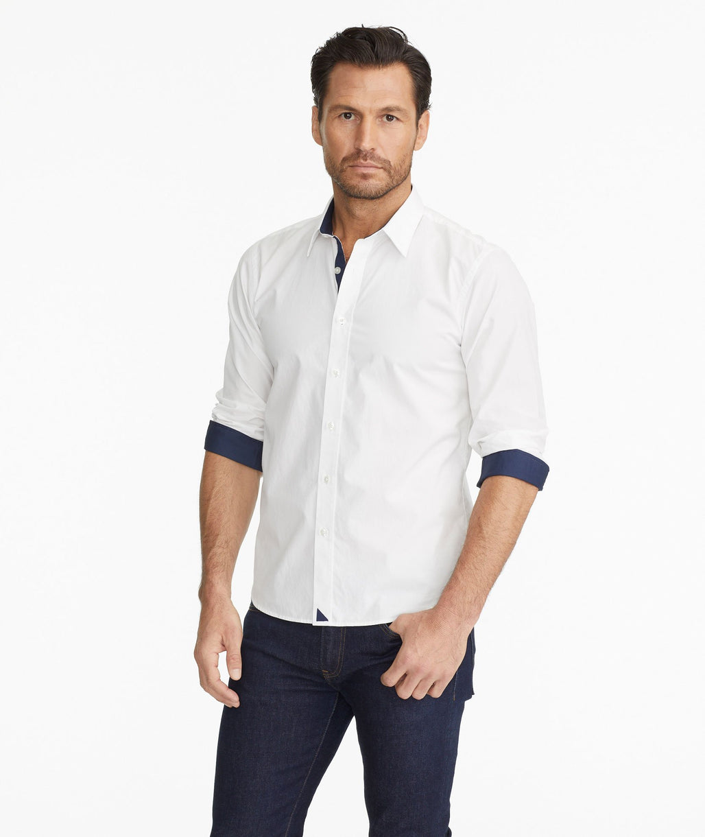 Model wearing a White Wrinkle-Free Las Cases Special Shirt