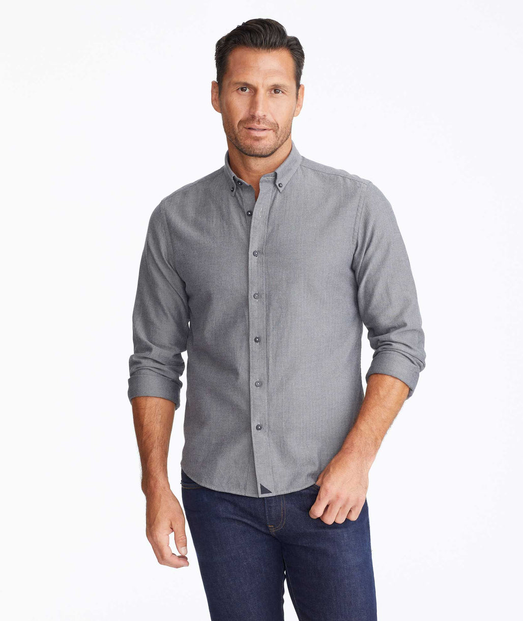 Model wearing a Dark Grey Flannel Librando Shirt