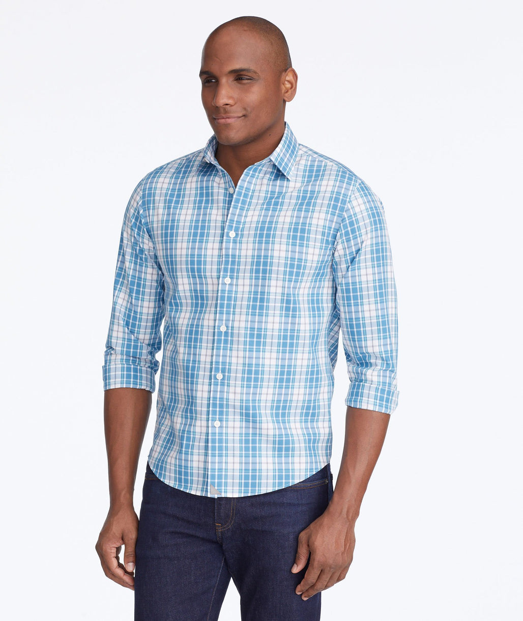 Model wearing a Mid Blue Wrinkle-Free Maxville Shirt