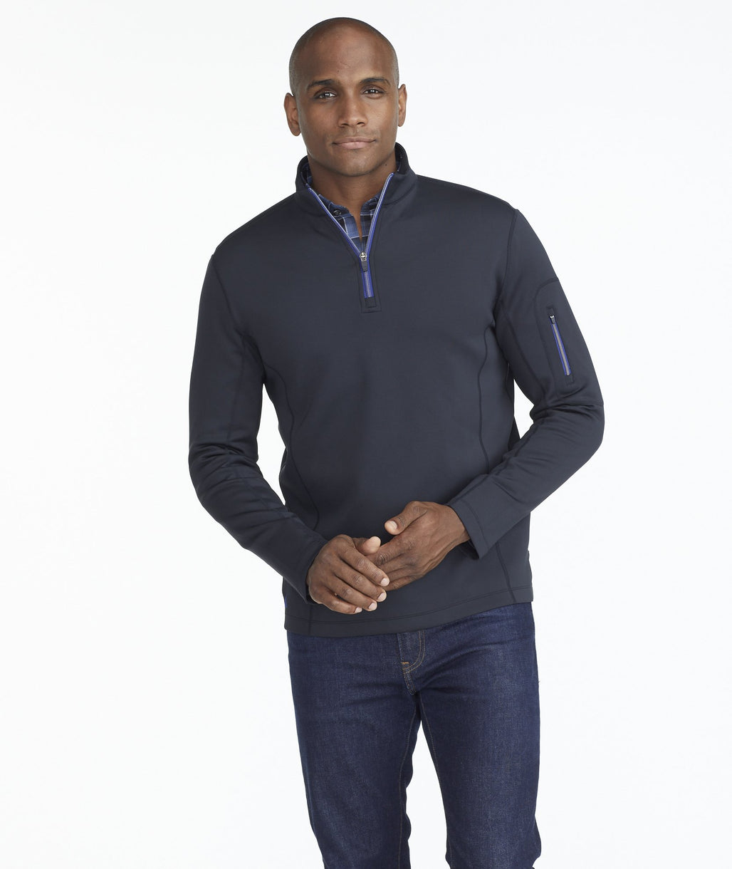 Model wearing a Black Performance Quarter-Zip