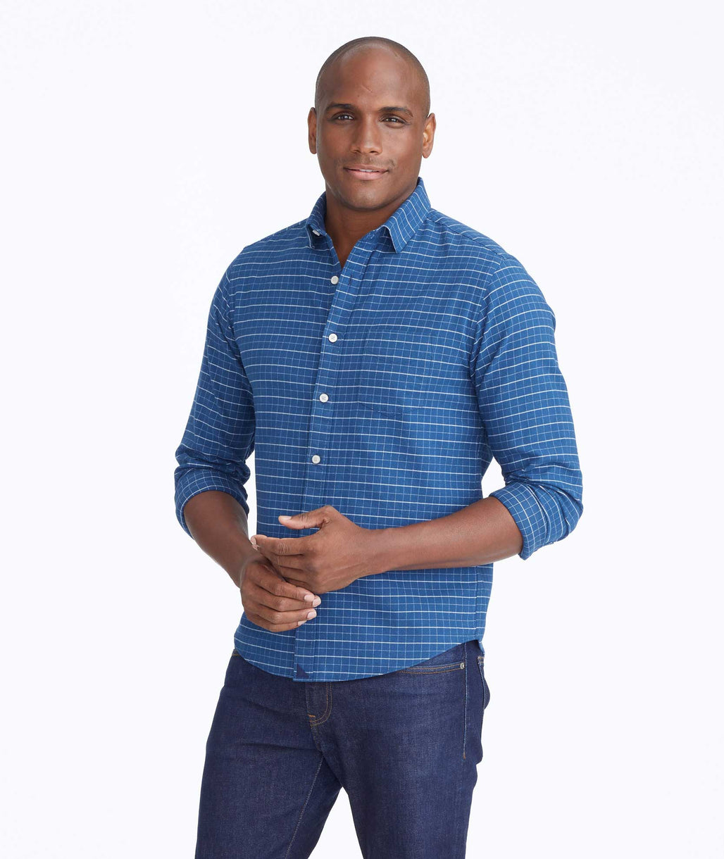 Model wearing a Blue Flannel Michelot Shirt