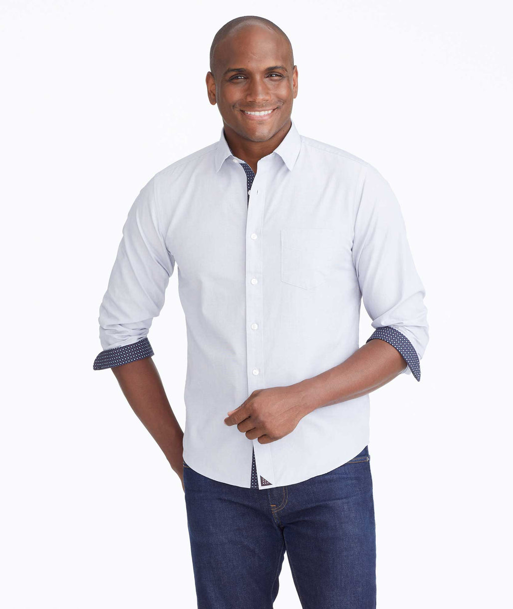 Model wearing a Grey Classic Cotton Monterina Shirt
