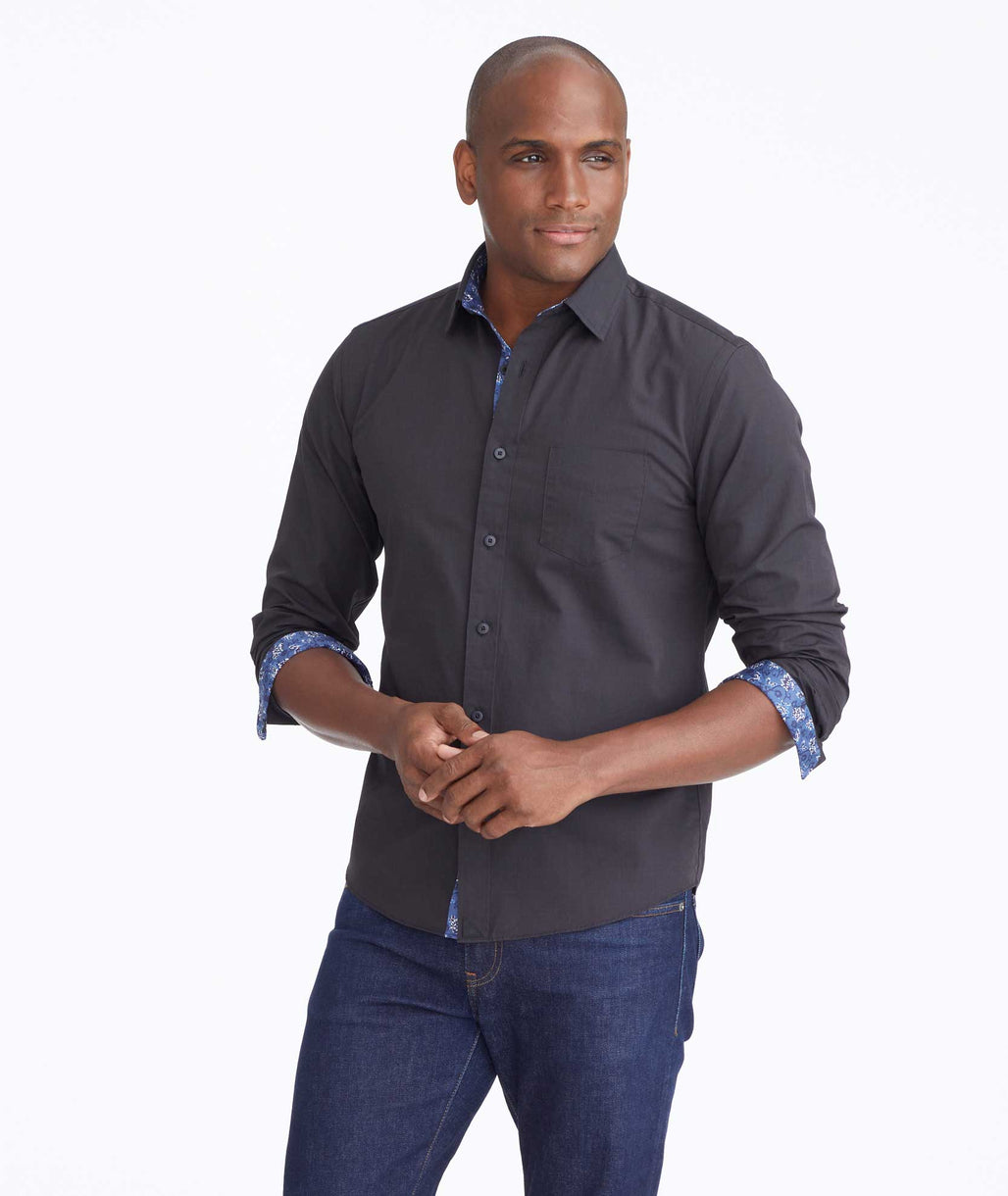 Model wearing a Black Classic Cotton Moreau Shirt