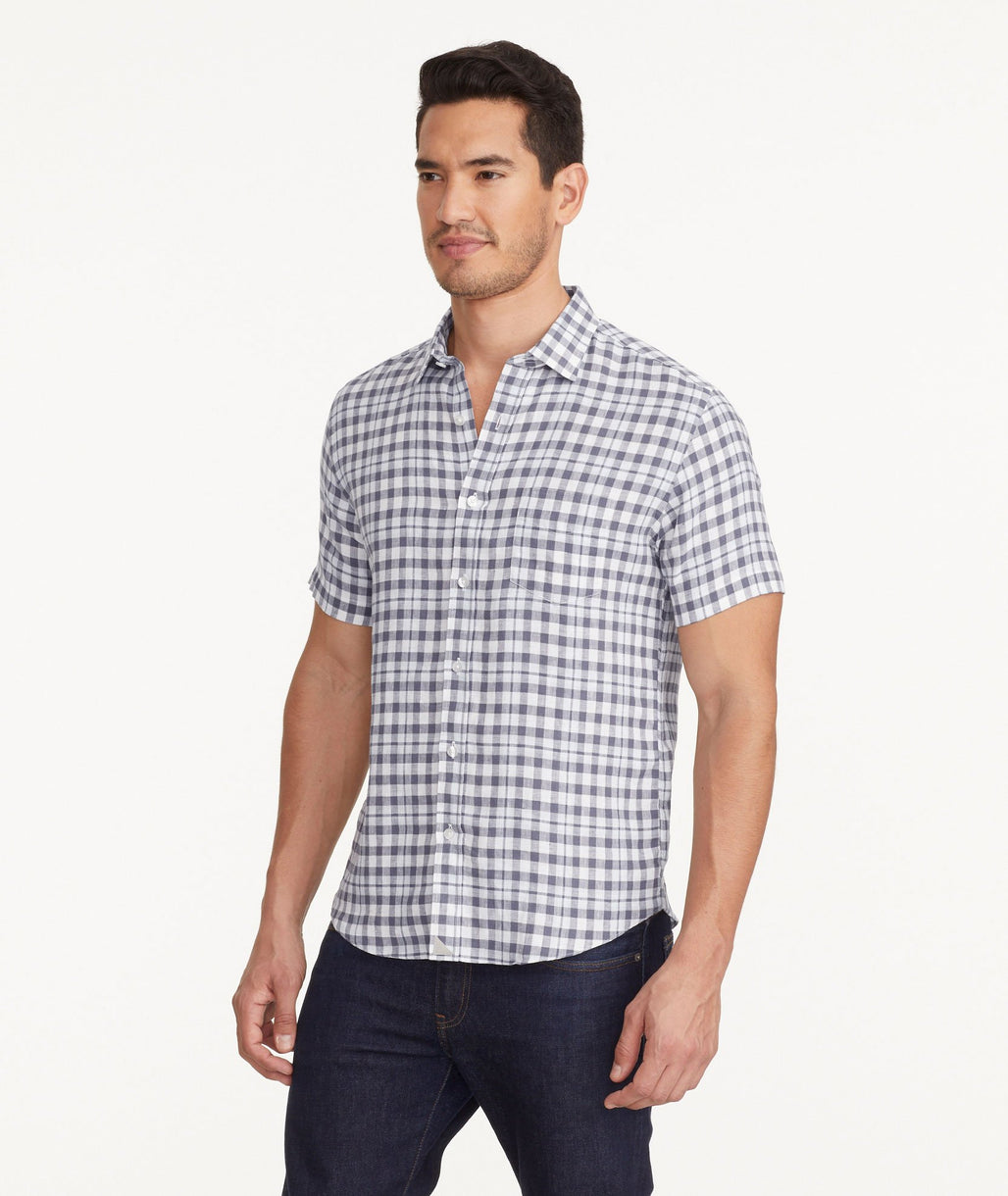 A model wearing a Light Blue Wrinkle-Resistant Linen Short-Sleeve Oltrepo Shirt
