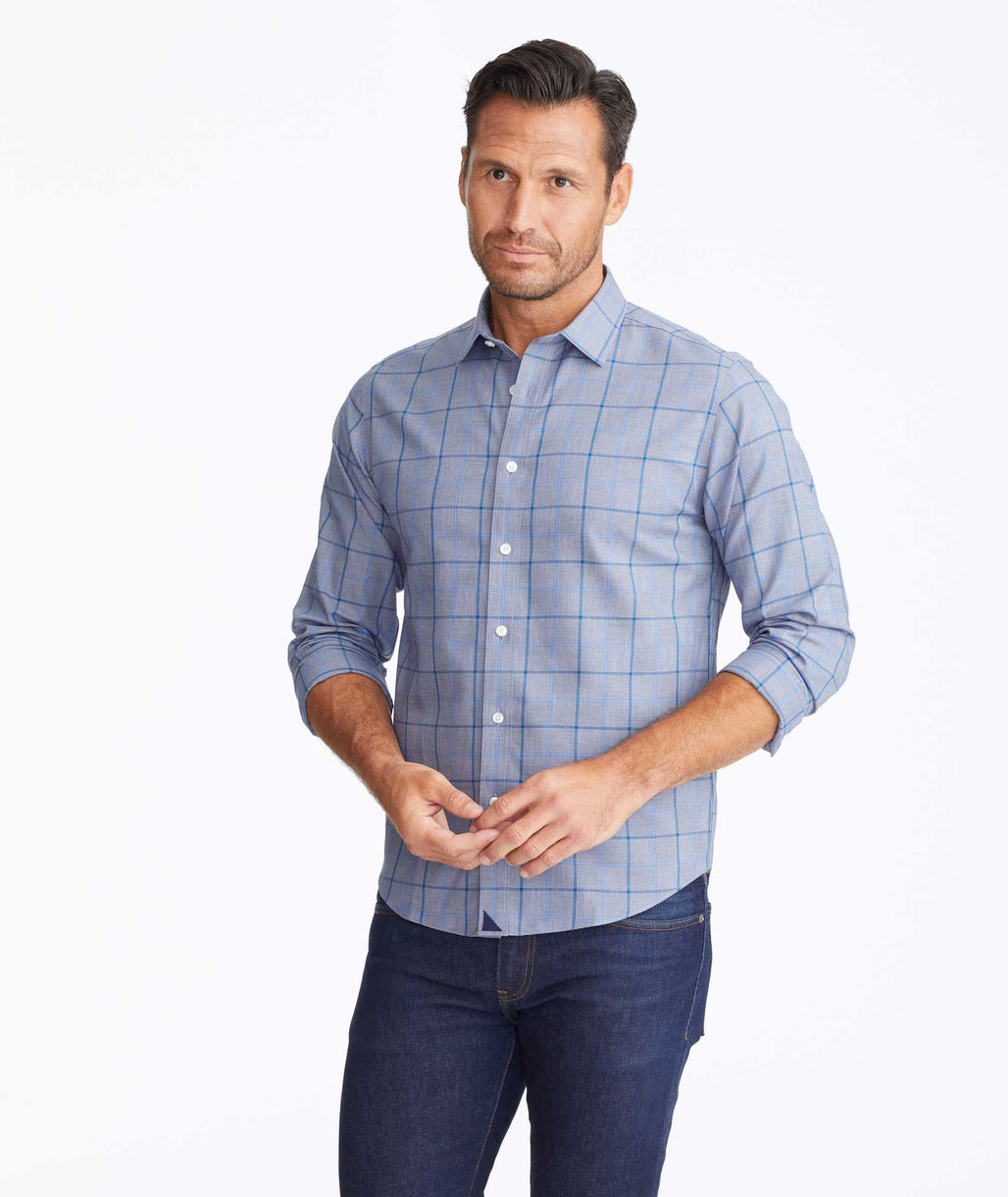 Model wearing a Navy Wrinkle-Free Ortman Shirt