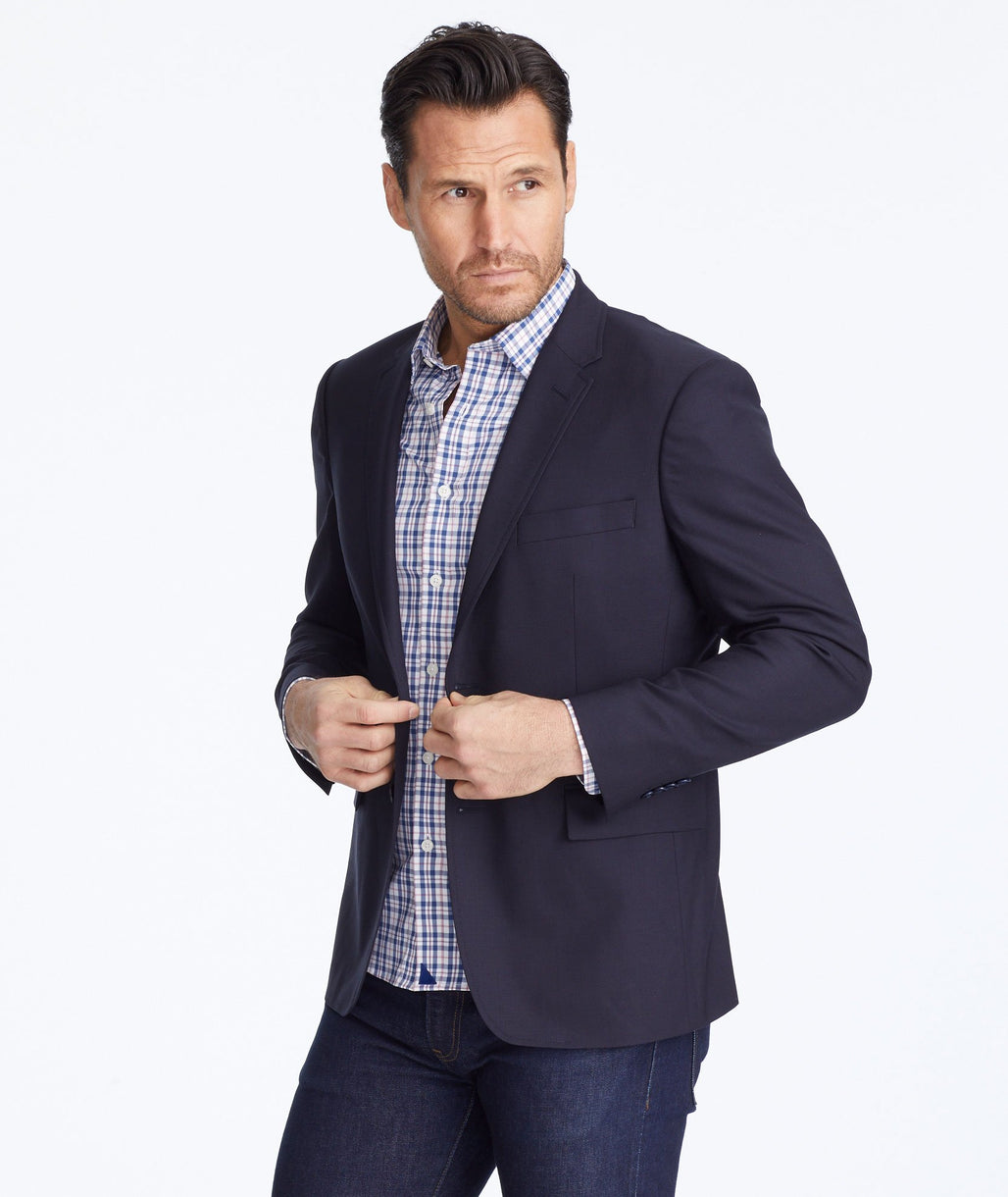 Model wearing a Navy Wrinkle-Resistant Palazzo Blazer