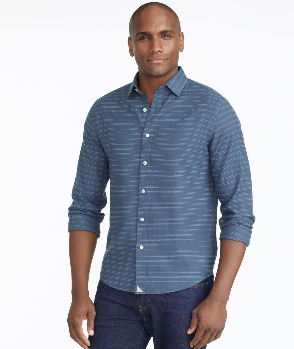 Model wearing a Teal Blue Classic Cotton Palmer Shirt