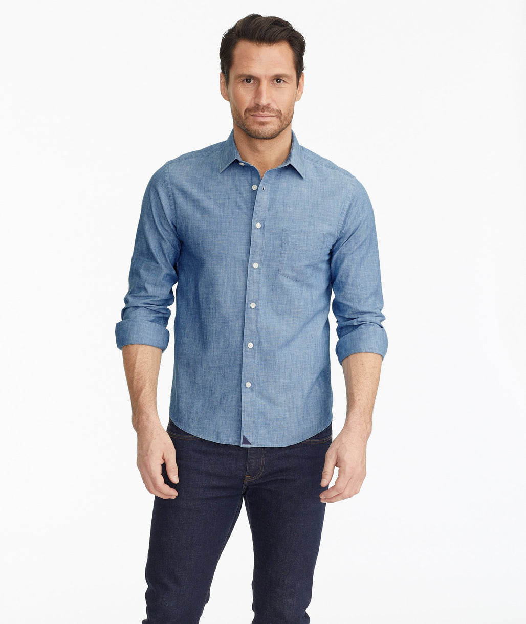 Model wearing a Light Blue Classic Chambray Shirt