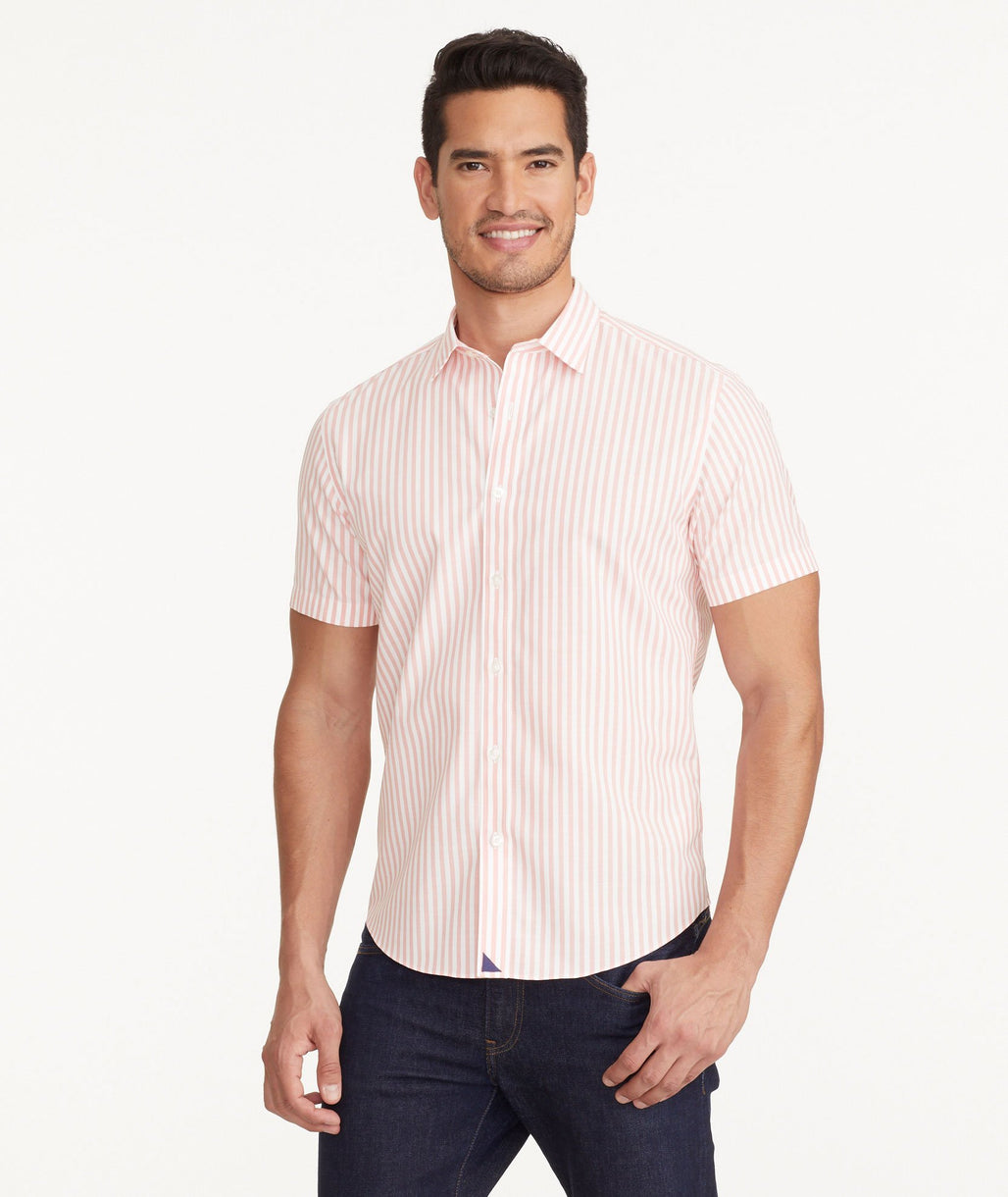 A model wearing a Pink Wrinkle-Free Rose Valley Shirt