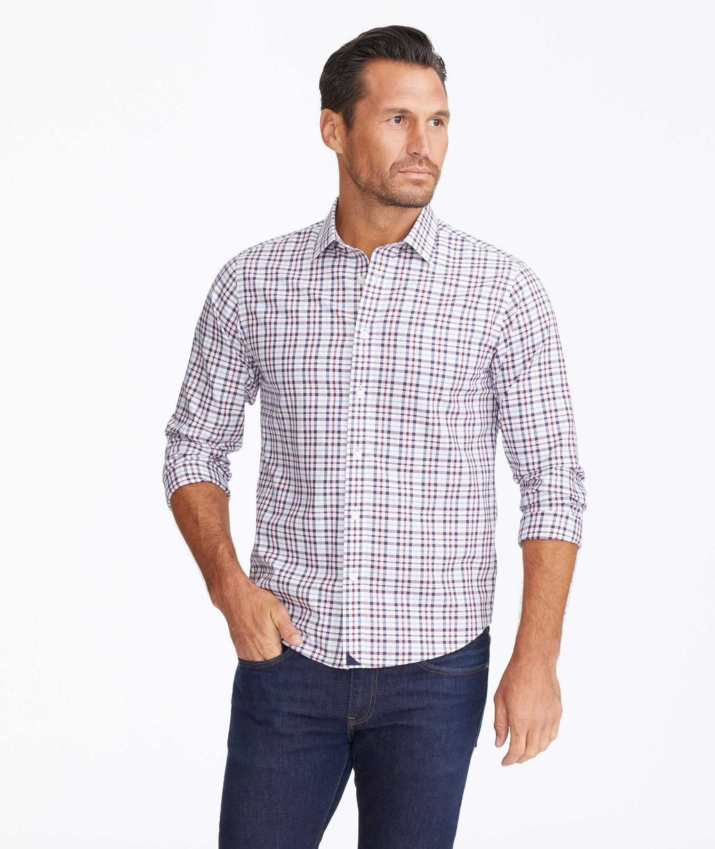 Model wearing a Navy Wrinkle-Free Salento Shirt