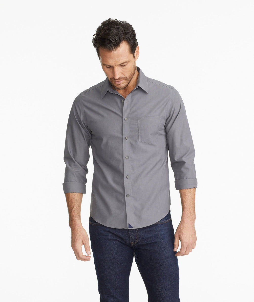 Model wearing a Grey Wrinkle-Free Sangiovese Shirt