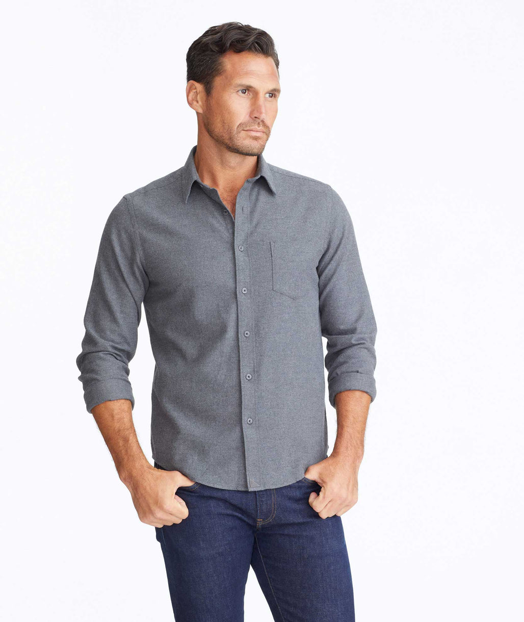 Model wearing a Dark Grey Flannel Sherwood Shirt
