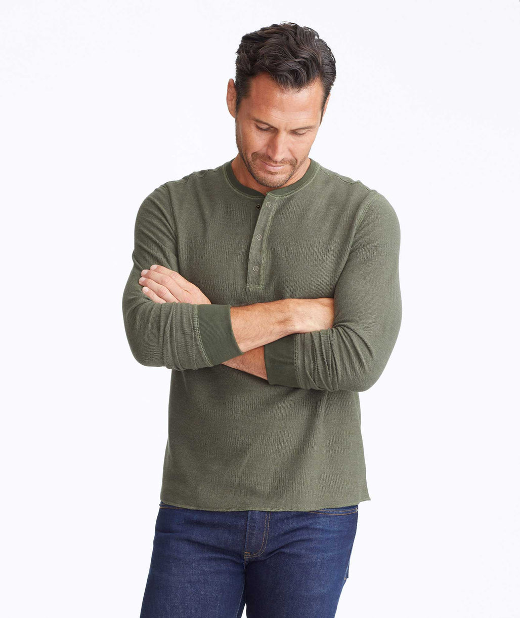 Model wearing a Dark Green Textured Long-Sleeve Henley