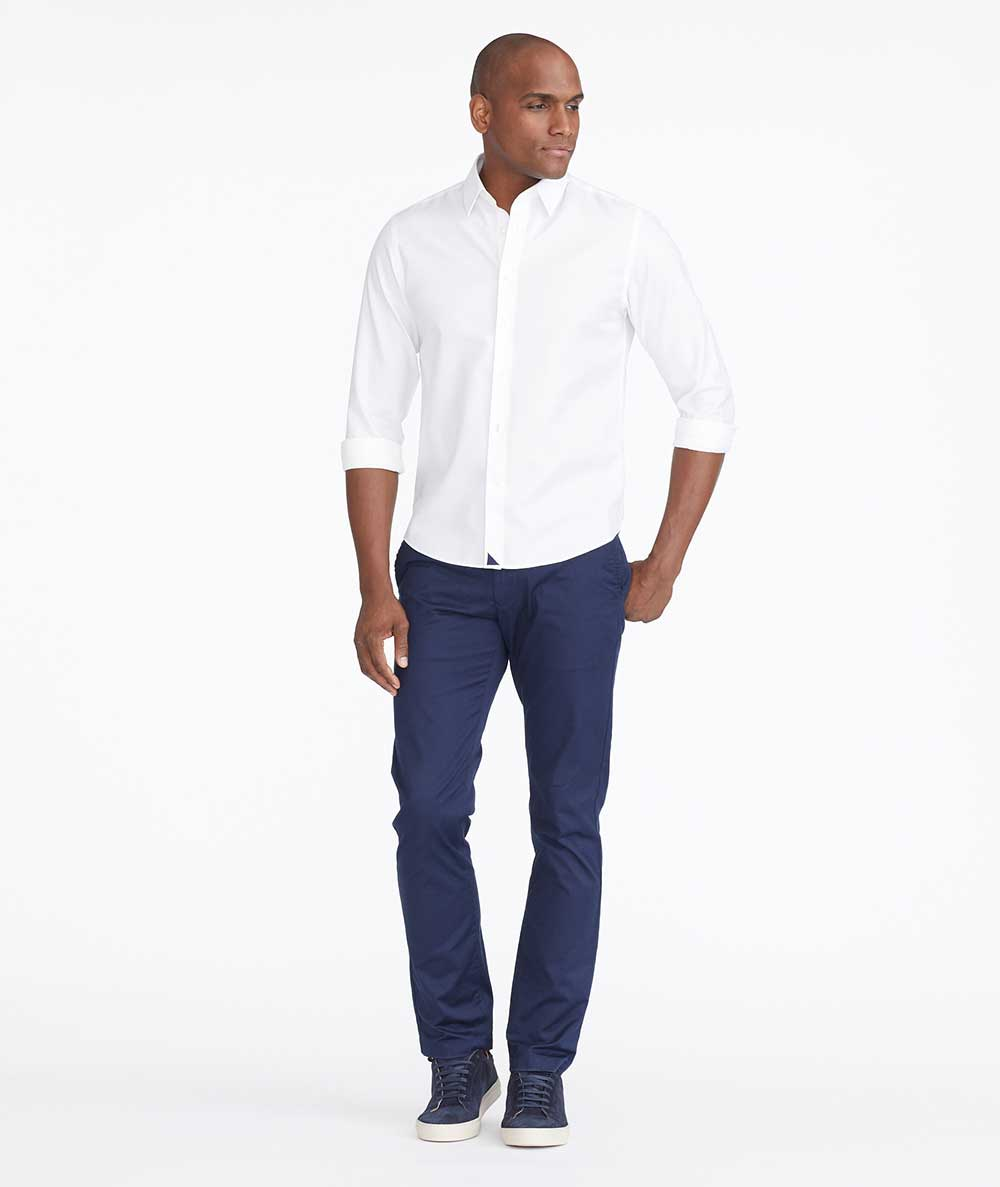 Model wearing a Navy Stretch Cotton Chinos