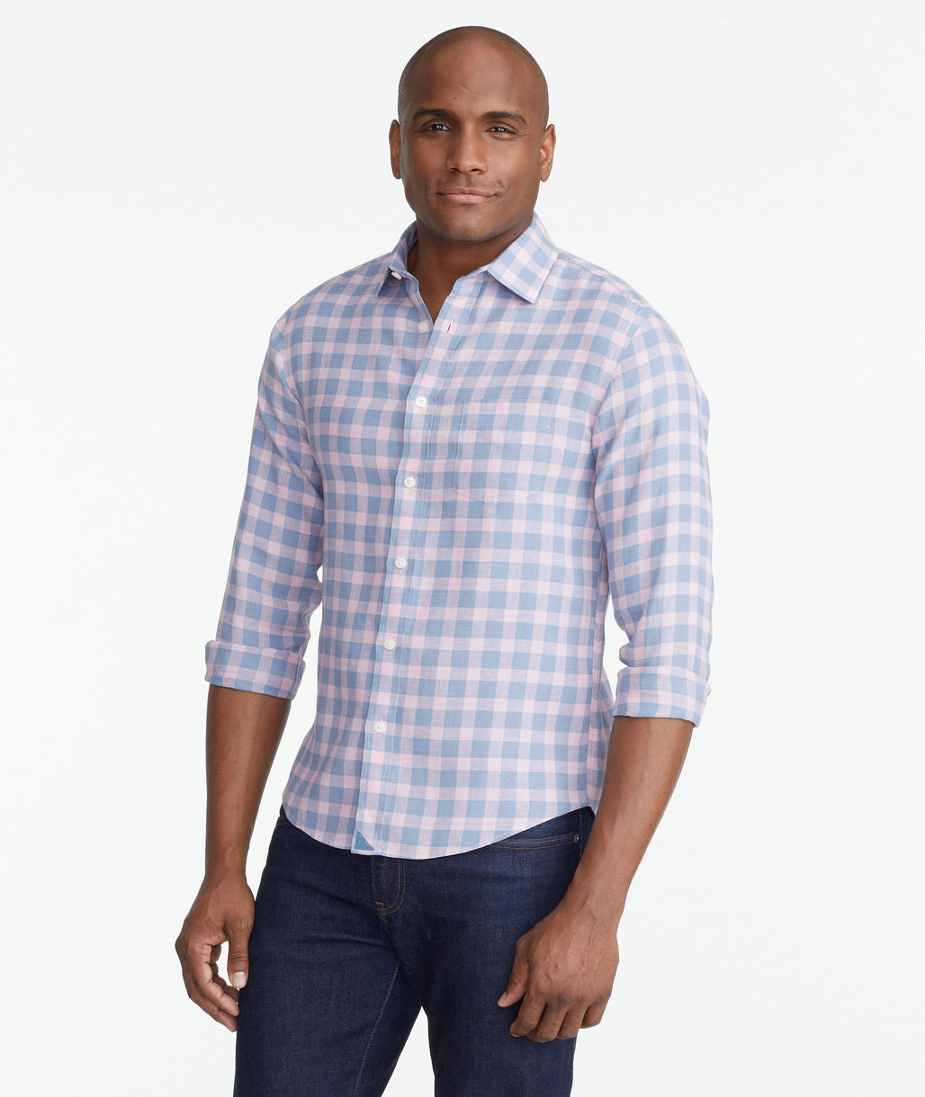 A model wearing a Pink Wrinkle-Free Sutton Shirt