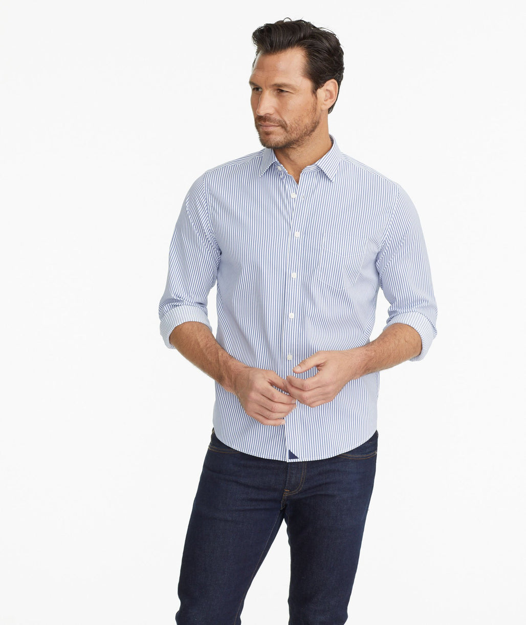 Model wearing a Blue Wrinkle-Free Performance Terzolo Shirt