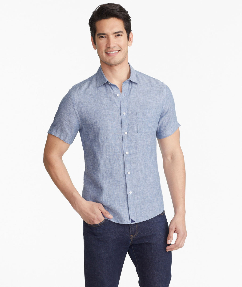Model wearing a Blue Wrinkle-Resistant Short-Sleeve Linen Shirt