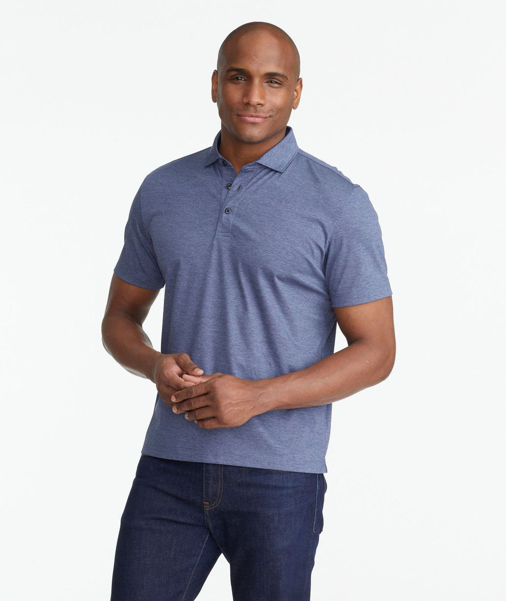 A model wearing a Navy Luxe Wrinkle-Free Pique Polo