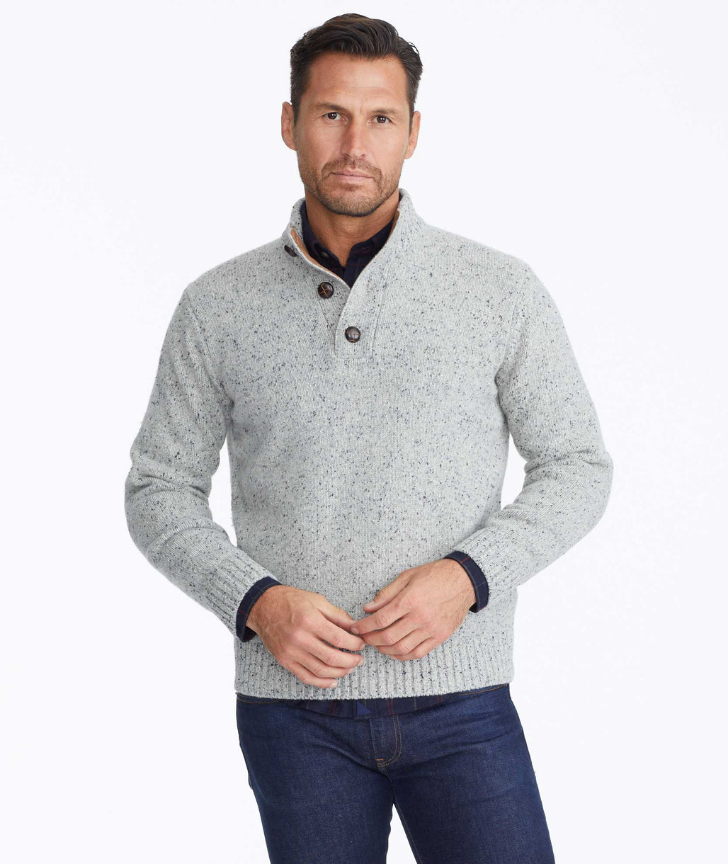 Model wearing a Grey Button-Neck Donegal Sweater
