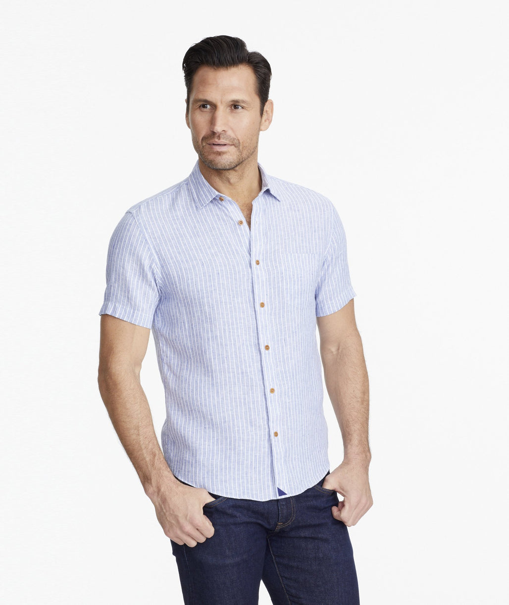 Model wearing a Blue Wrinkle-Resistant Linen Short-Sleeve Westrey Shirt