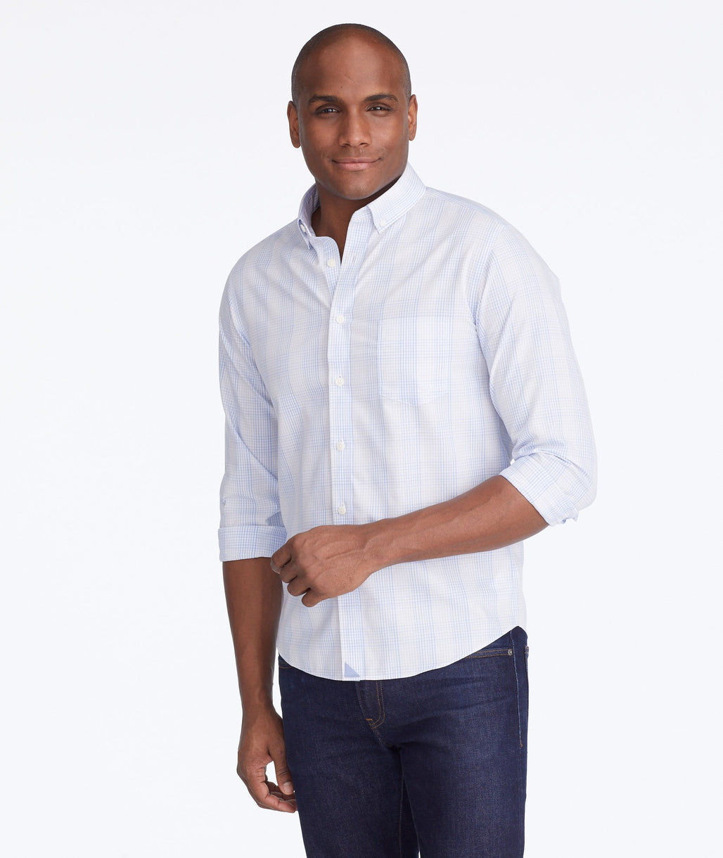 Model wearing a Purple Wrinkle-Free Wilridge Shirt