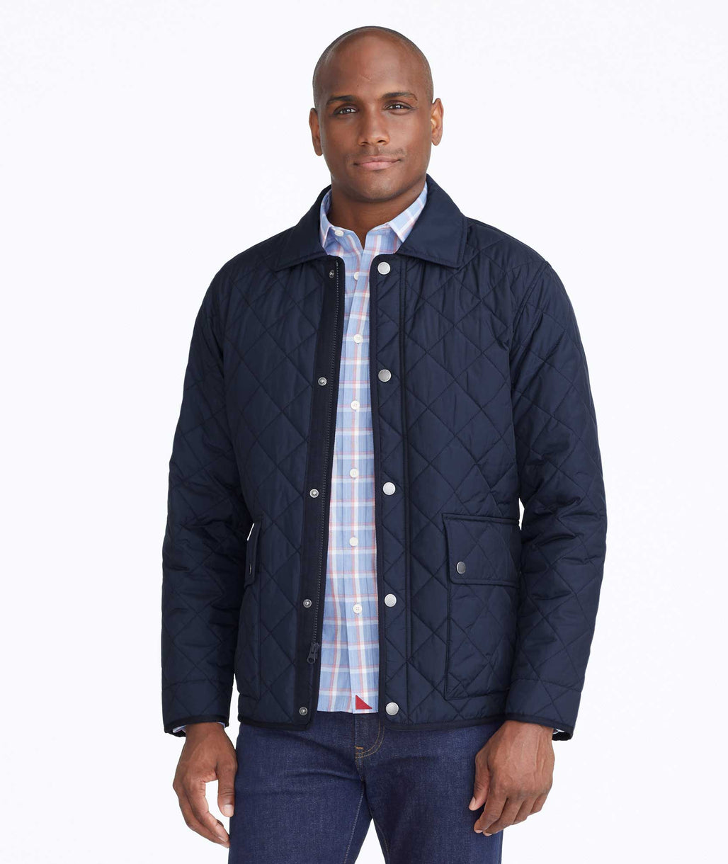 Model wearing a Navy Quilted Field Jacket