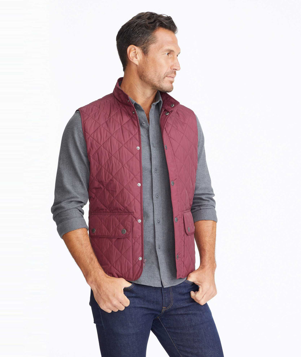 Model wearing a Dark Red Quilted Field Vest