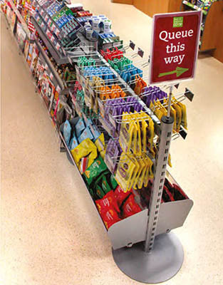 Queue management shelving