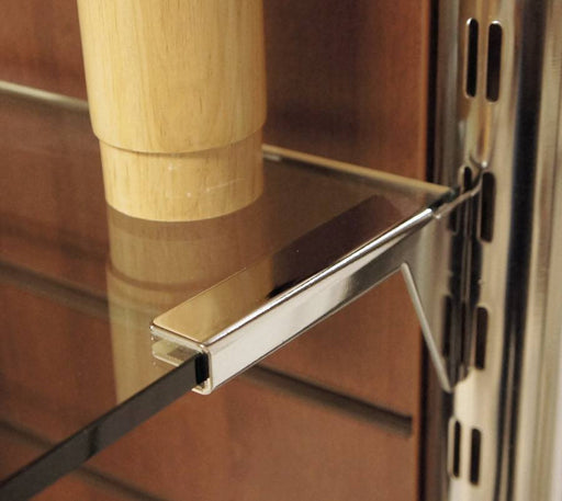 Clamp style glass shelf bracket