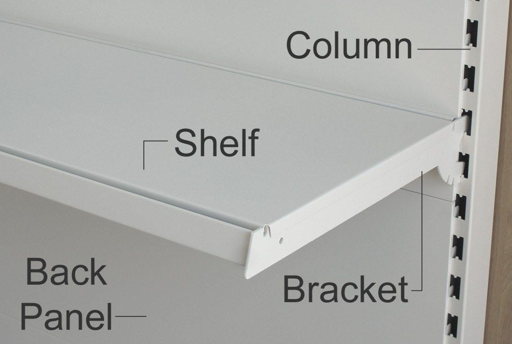 Shelf Bracket (pair), Ivory White - 47cm and 57cm, 3 hook