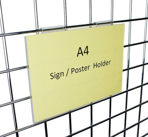 A4 landscape sign holder for grid panels