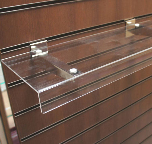 Reversible Acrylic L-Shelf on Chrome Brackets - 60 x 20cm
