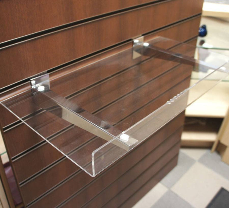 Reversible Acrylic L-Shelf on Chrome Brackets - 60 x 30cm