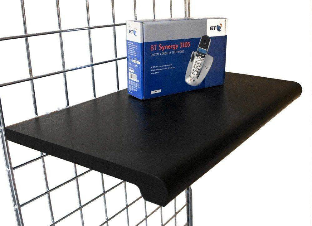 Black bullnose shelf for grid panel