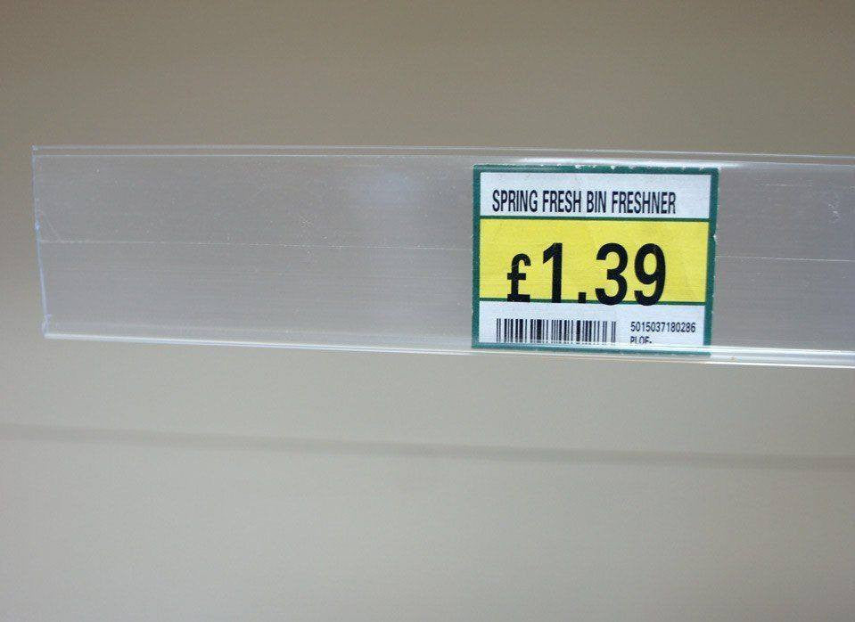 Self-adhesive POS Shelf Edge Strip, 120cm, Clear