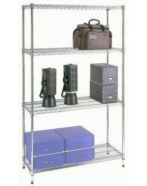 4 Shelf Chrome Shelving Unit - 91.5 x 35.5cm (36 x 14in) - Choice of heights..