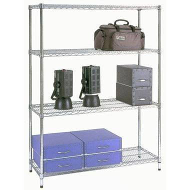 4 Shelf Chrome Shelving Unit - 122 x 35.5cm (48 x 14in) - Choice of heights..