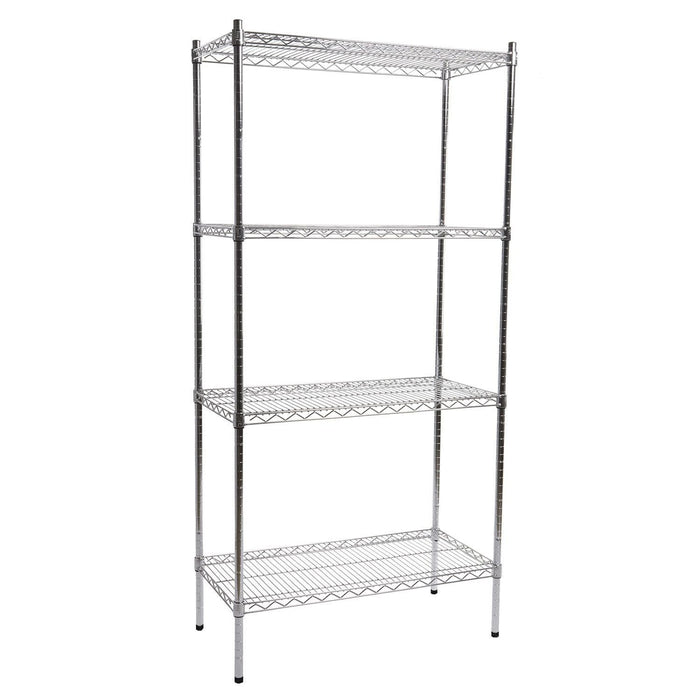 4 Shelf Chrome Shelving Unit - 90 wide x 40cm deep - Choose height..