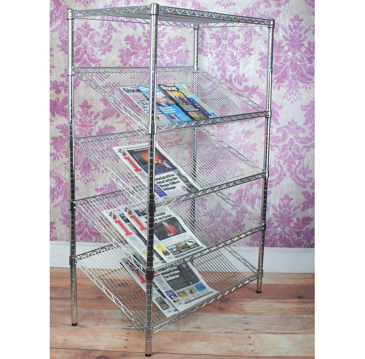 Chrome Shelving Unit 4x Sloping Shelves, 1x Flat Shelf - 122 x 46cm (48 x 18in) - Choice of heights..