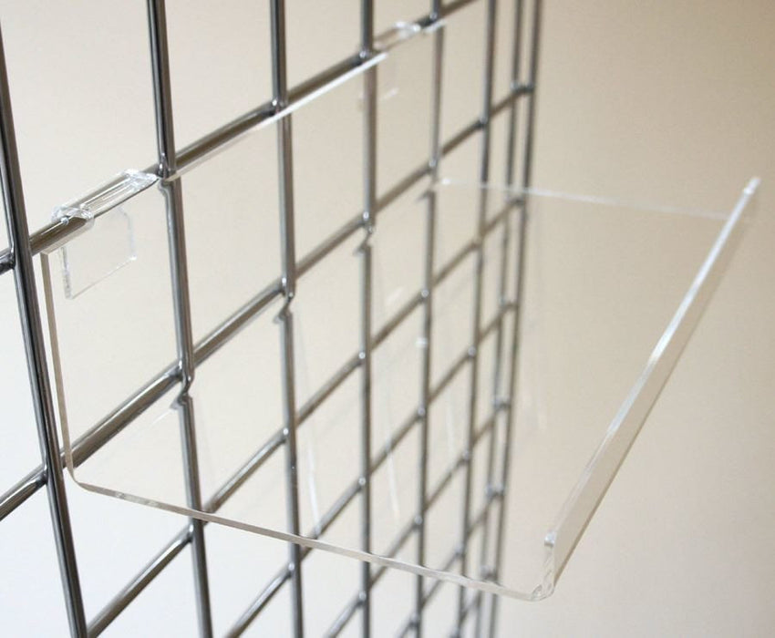 Acrylic Shelf with front lip, for grid panels