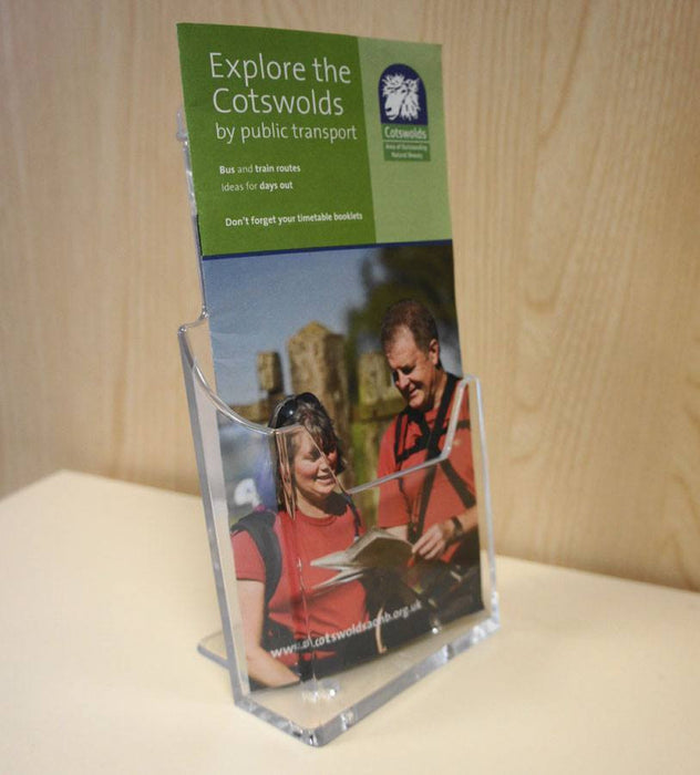 DL Size Single Tier Brochure/Leaflet Holder -  slatwall, counter-top or wall-fixed