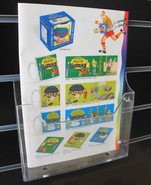A4 Single Tier Brochure/Leaflet Holder -  slatwall, counter-top or wall-fixed