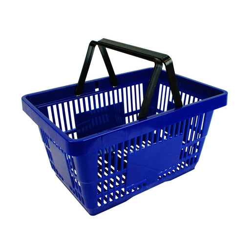 plastic shopping basket, blue