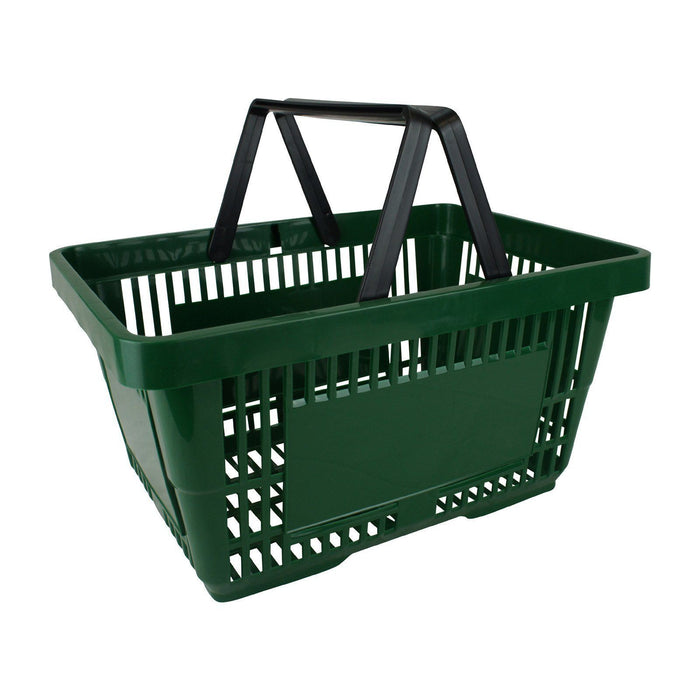 Green Plastic Shopping Basket with 2 handles