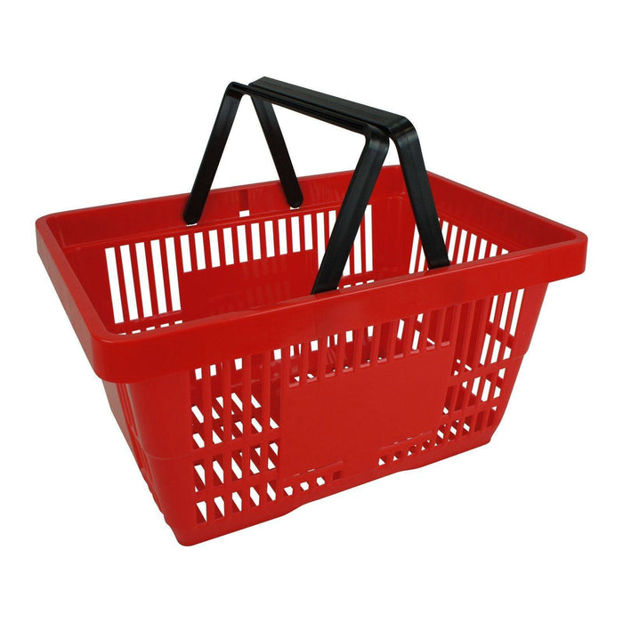 Plastic Shopping Basket with 2 handles, Red