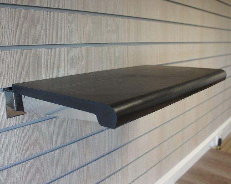 Bullnose Shelf for Slatwall, Black, with brackets