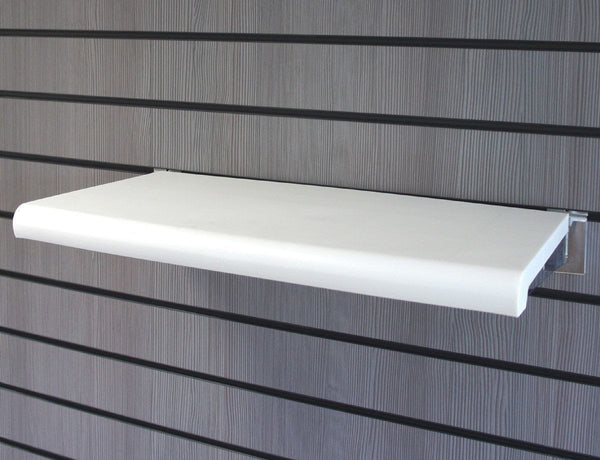 Bullnose Shelf for Slatwall, White, with brackets