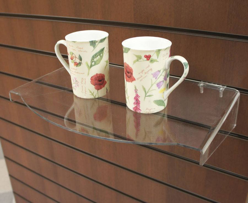 Bow front acrylic shelf for slatwall