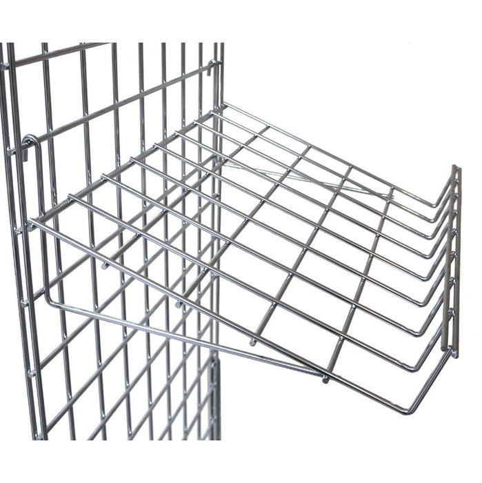 sloping mesh shelf for grid panels