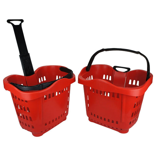 wheeled shopping basket, red